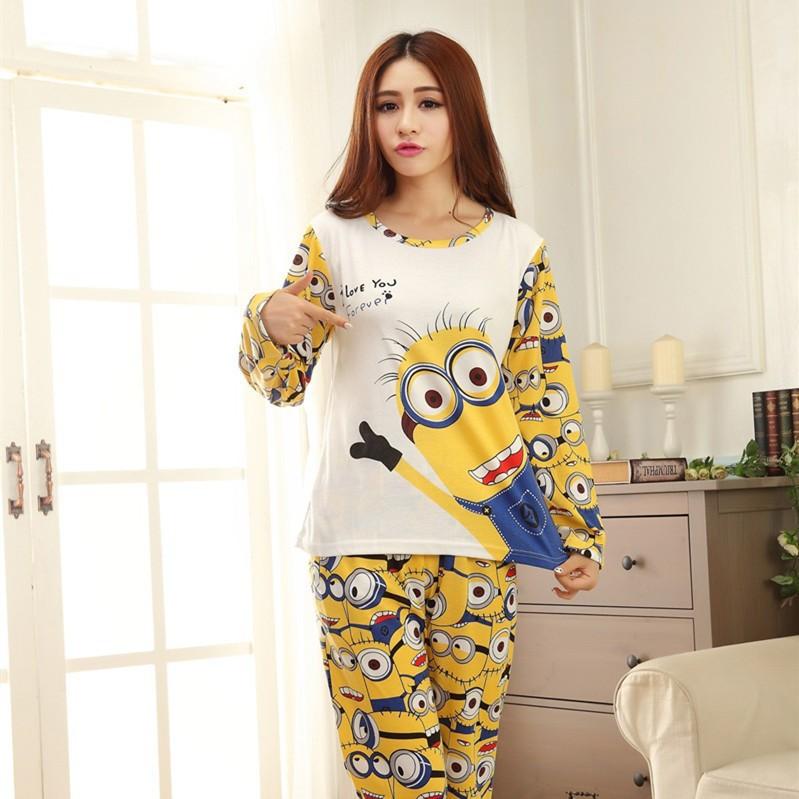 minions-clothes-pyjamas-women-pijamas-femininos-inverno-indoor-clothing-winter-primark-pajamas